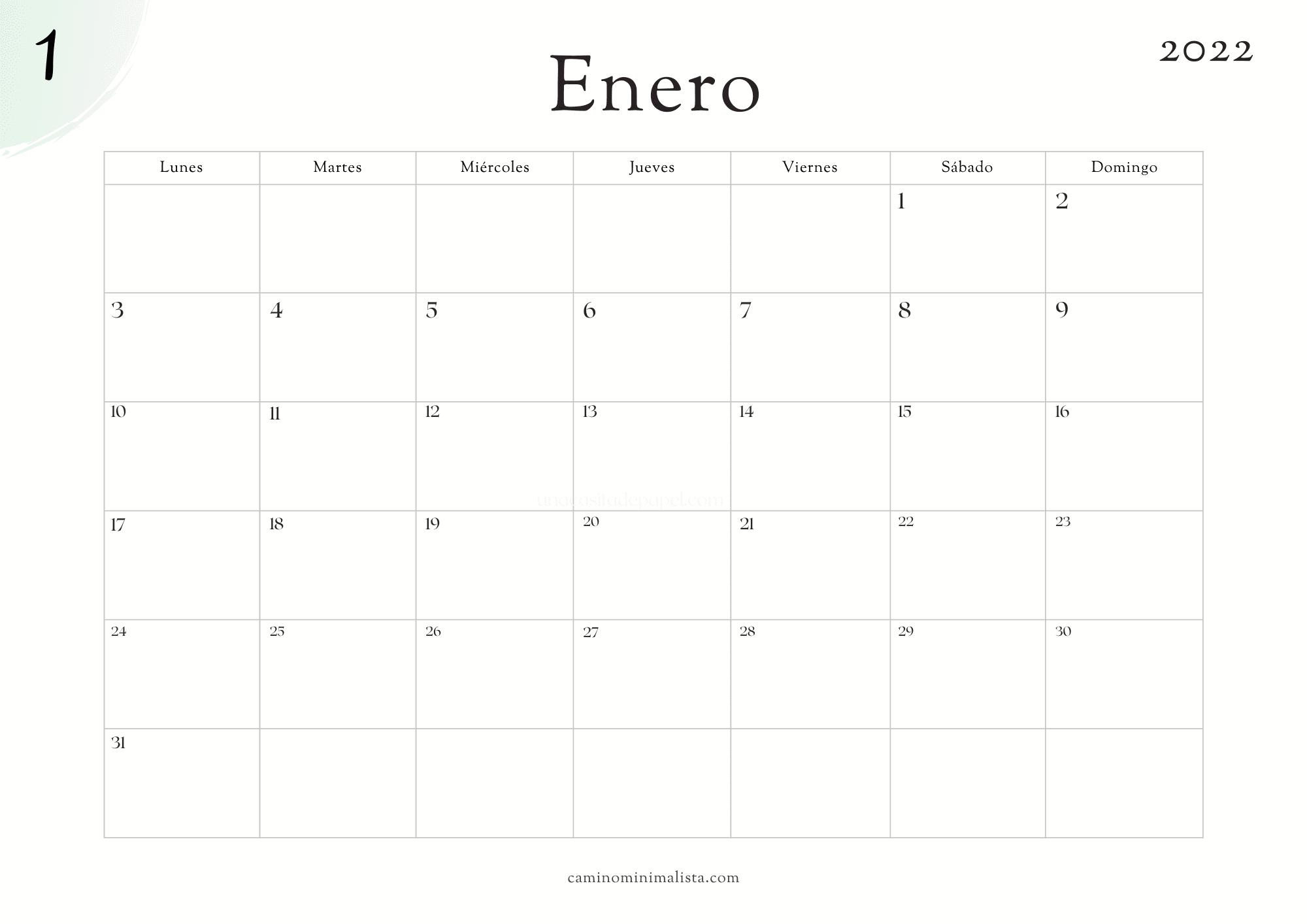 Calendario Enero 2022
