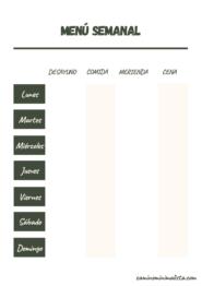 Plantilla menu semanal familiar
