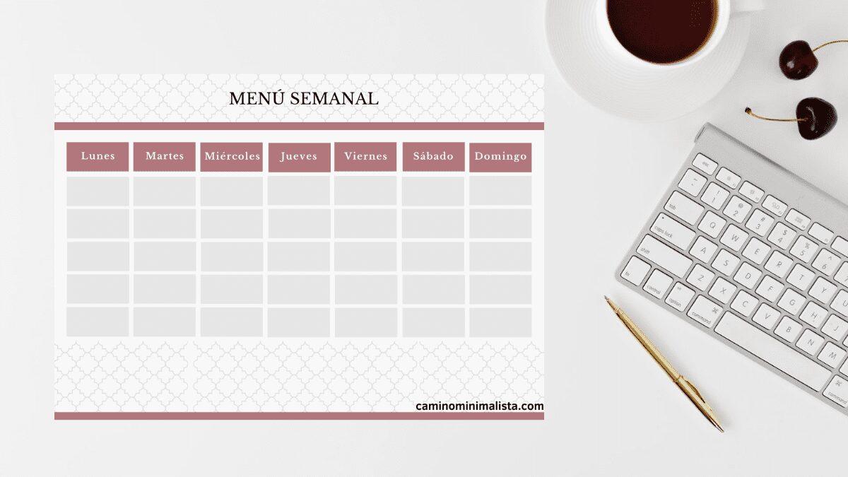 imprimible plantilla menu semanal